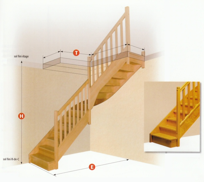 Escaliers escaliers standards menuisor - Escalier 3 4 tournant ...
