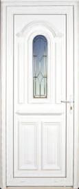 Porte d'extérieur en PVC Neobaie, modèle Ségala vitrée