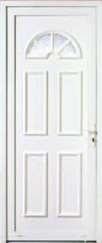 Porte d'extérieur en PVC Neobaie, modèle Sicile petit bois blanc